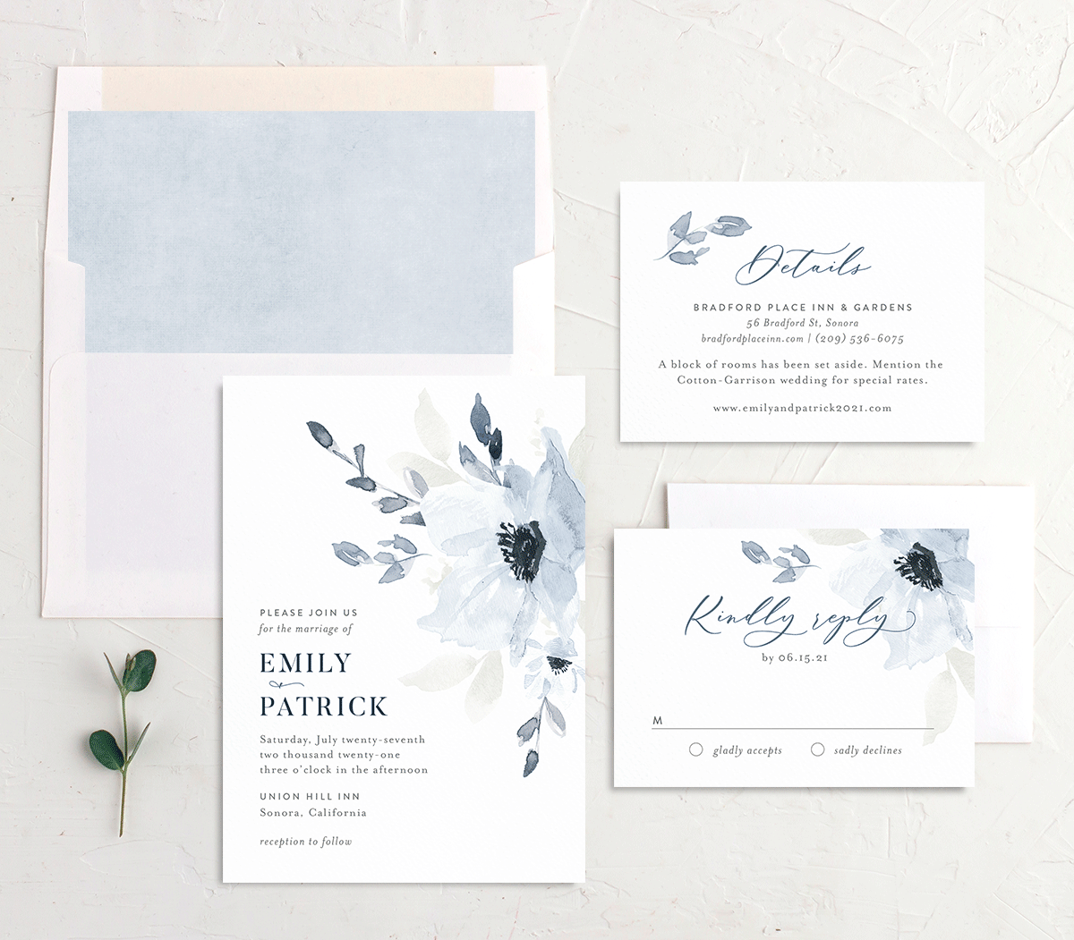 Shades of Blue Wedding Invitation Suite