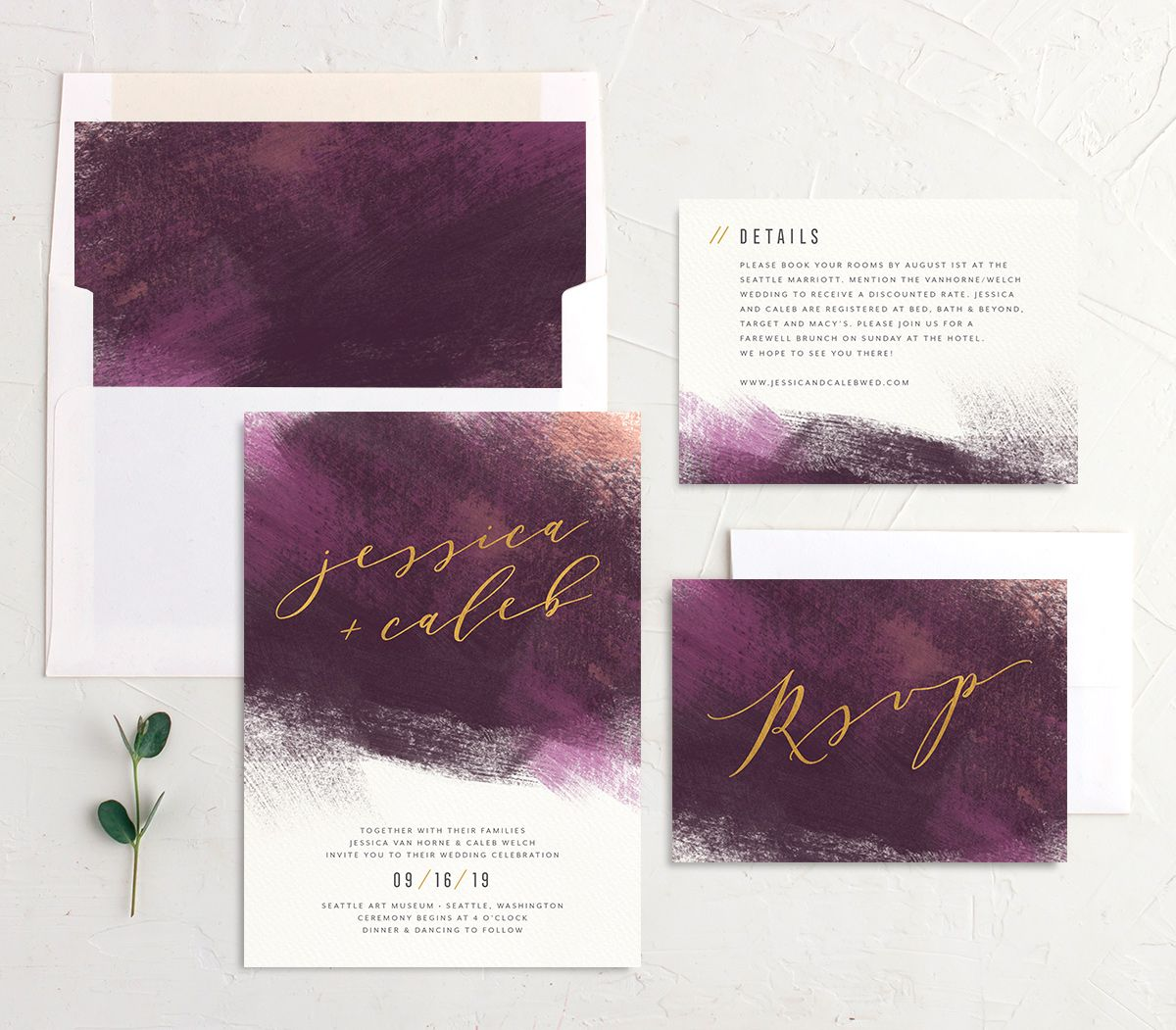 Modern Brushstroke wedding invitation suite