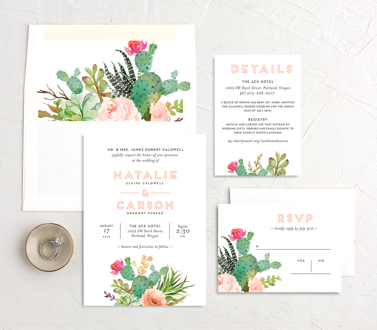 Watercolor Cactus wedding suite