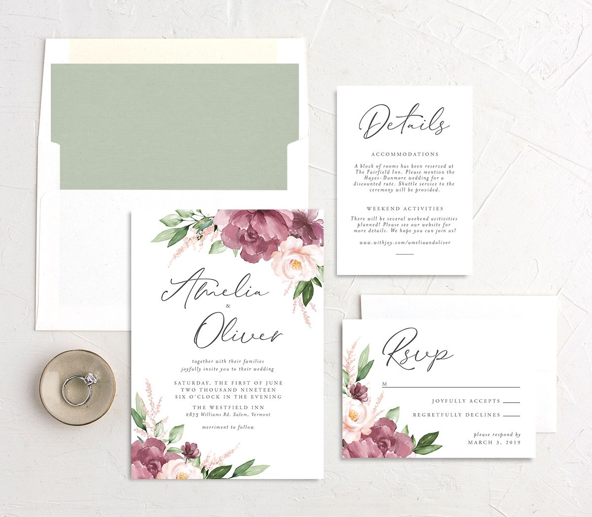 Purple Beloved Floral Wedding Invitation Suite
