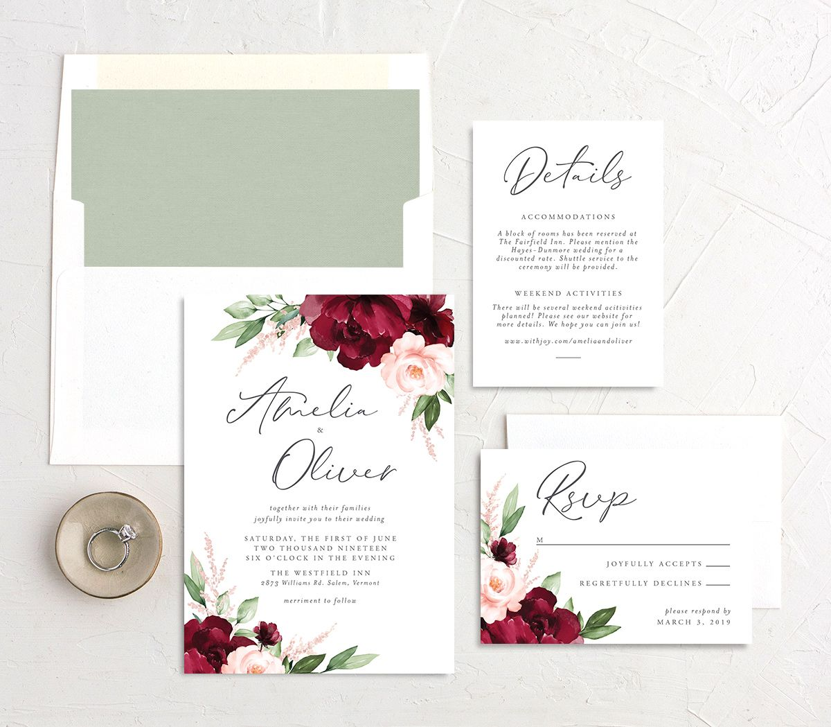 Beloved Floral Wedding Invitation Suite