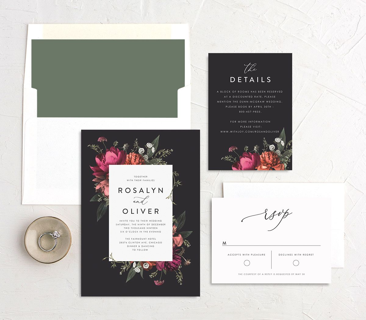 Blooming Botanical wedding invitation black suite