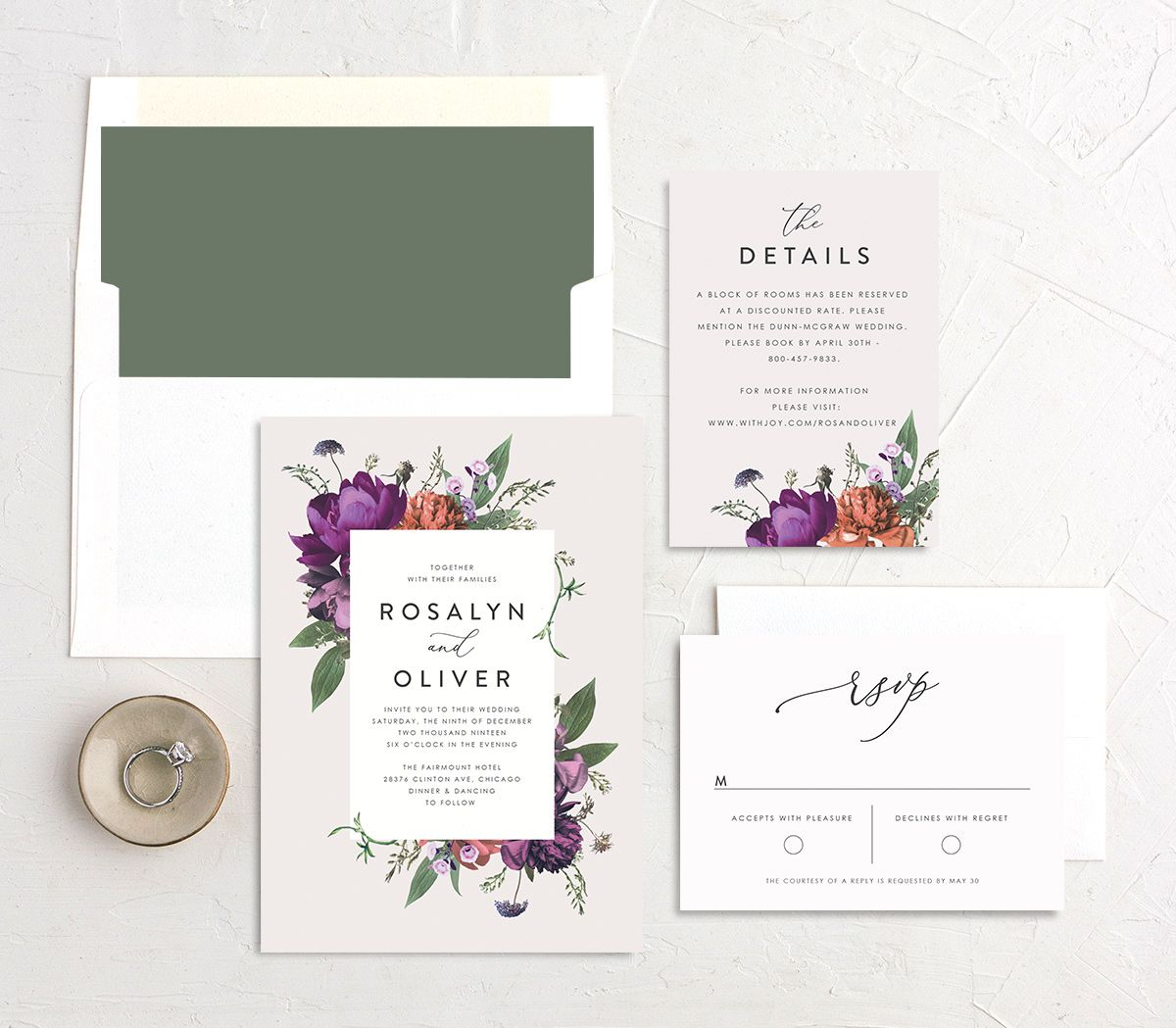Blooming Botanical wedding invitation purple suite