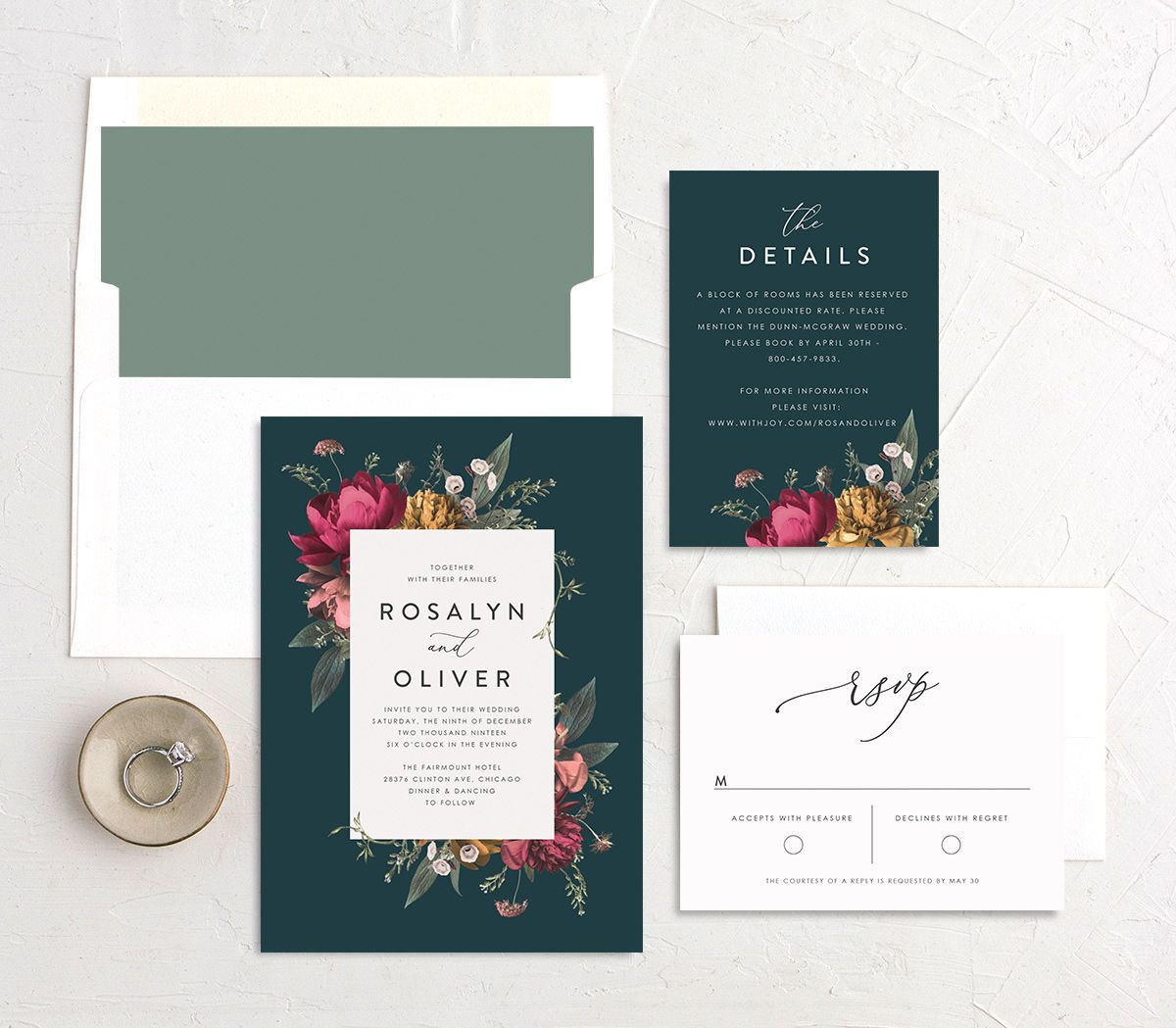 Blooming Botanical wedding invitation suite