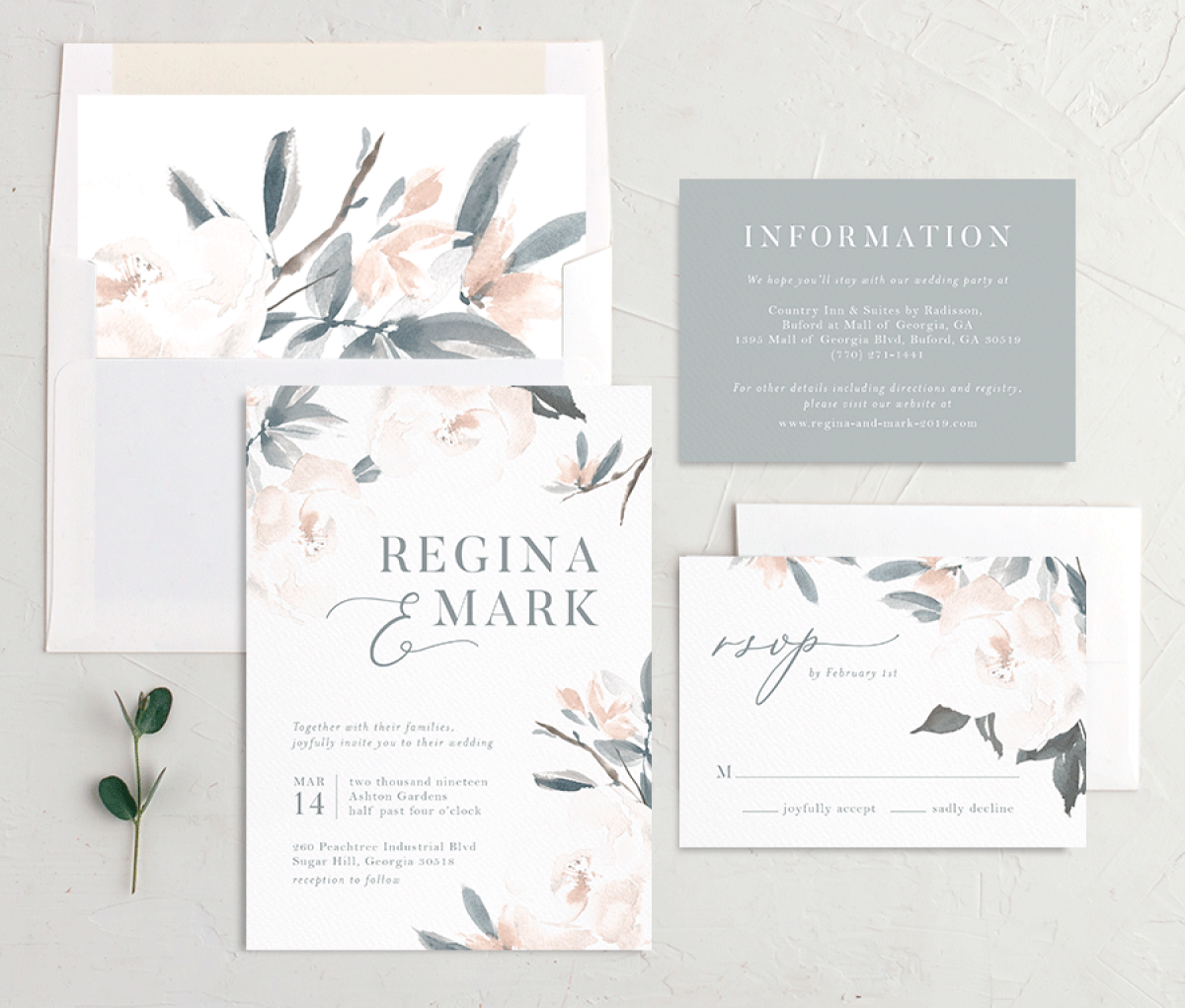 Elegant Garden full invite suite shown in blue
