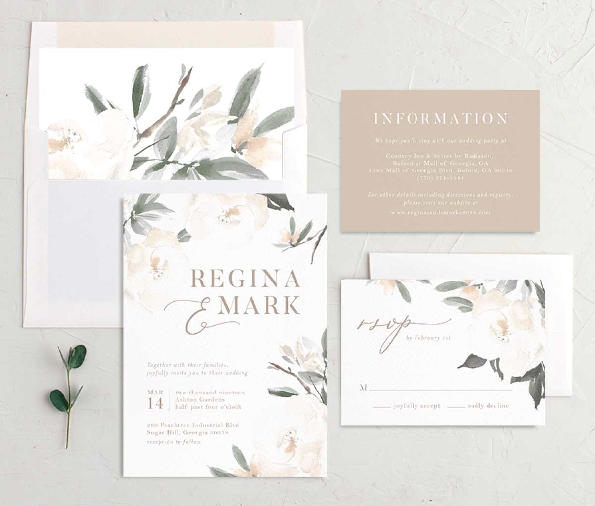 Elegant Garden recipient address printing in green