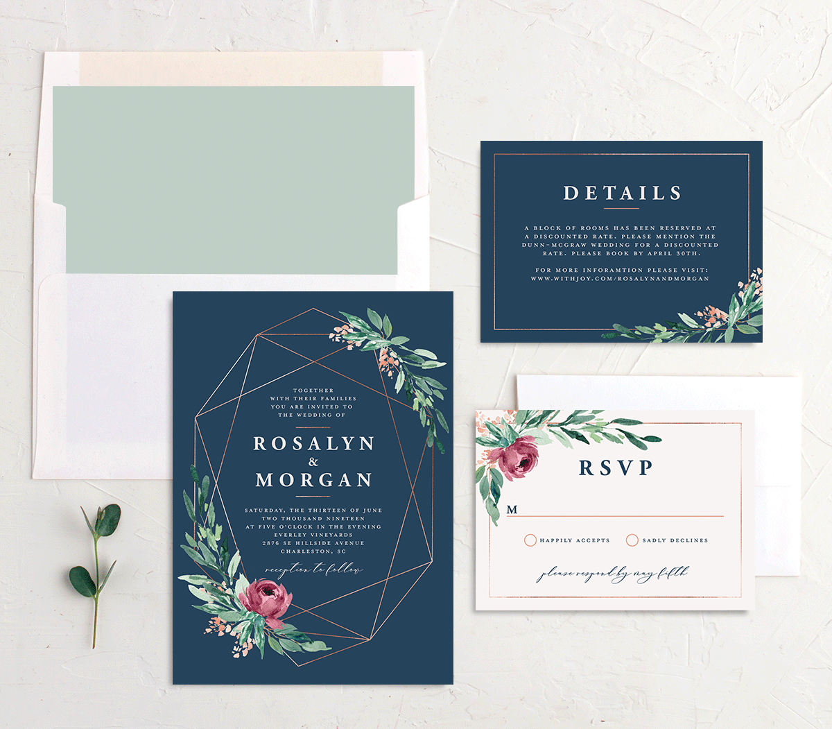 Gilded Botanical invitation suite