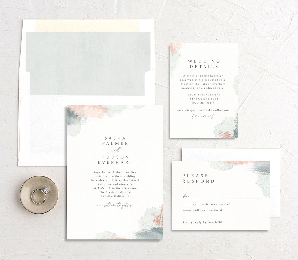 Minimal Brush Wedding Invitations | elli