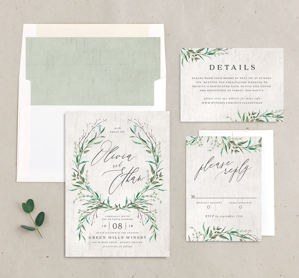Natural Laurel wedding suite