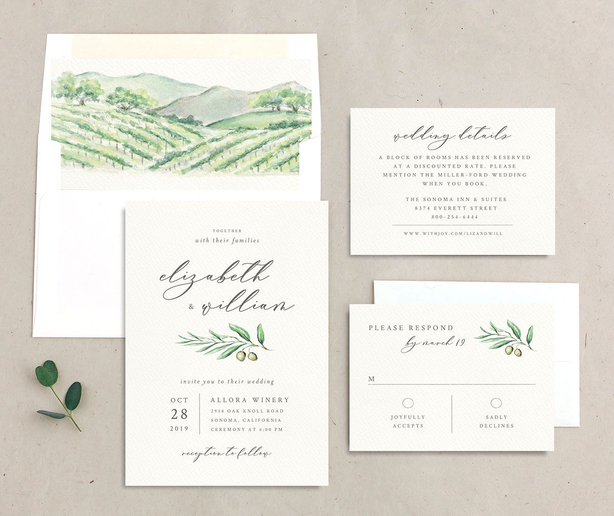 Painted Winery wedding invitation suite