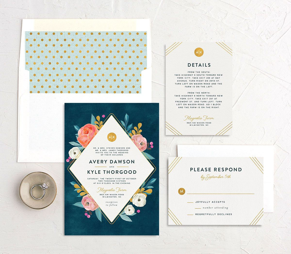 Painterly Blooms wedding invitation suite