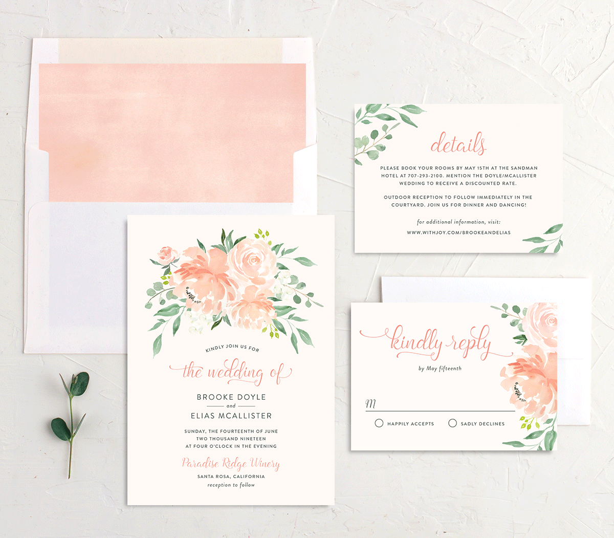 Romantic Floral Wedding Invitation Suite
