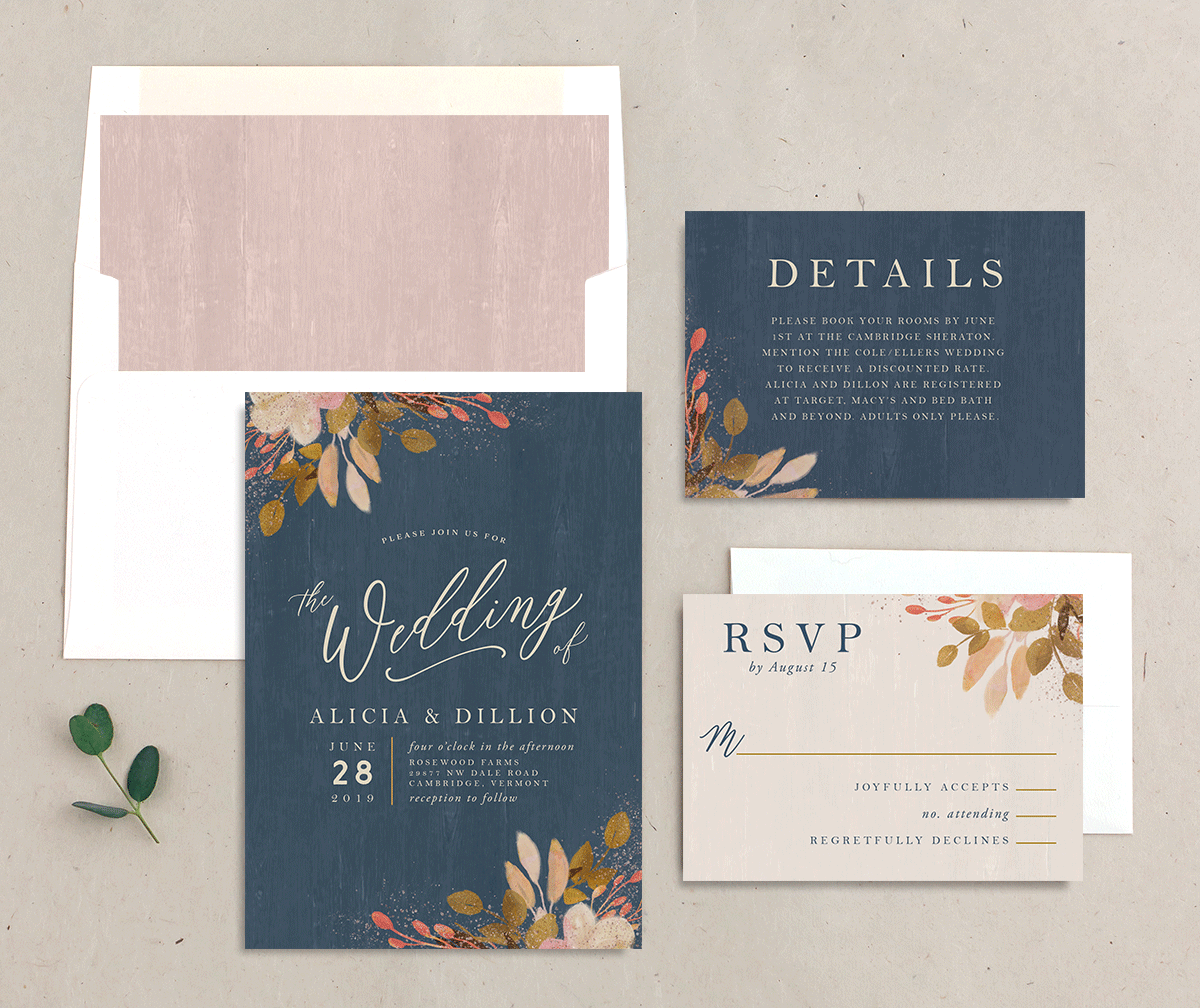 Rustic Leaves Wedding Invitation Suite