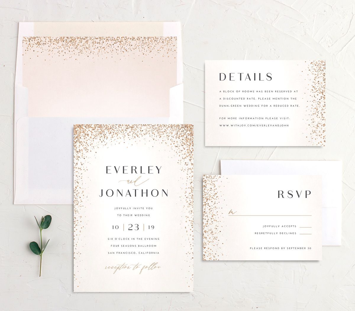 Sparkling Romance wedding invitation suite