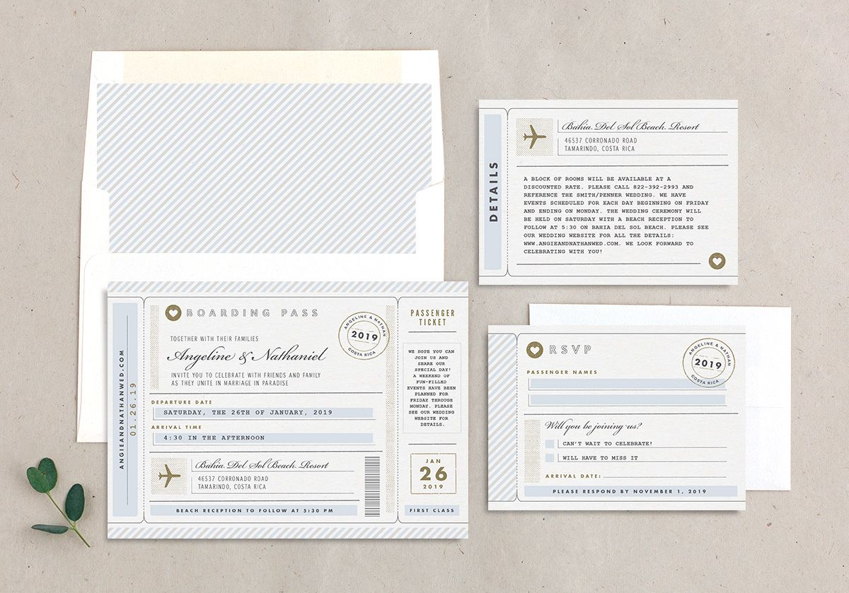 Vintage Boarding Pass wedding invitation suite blue