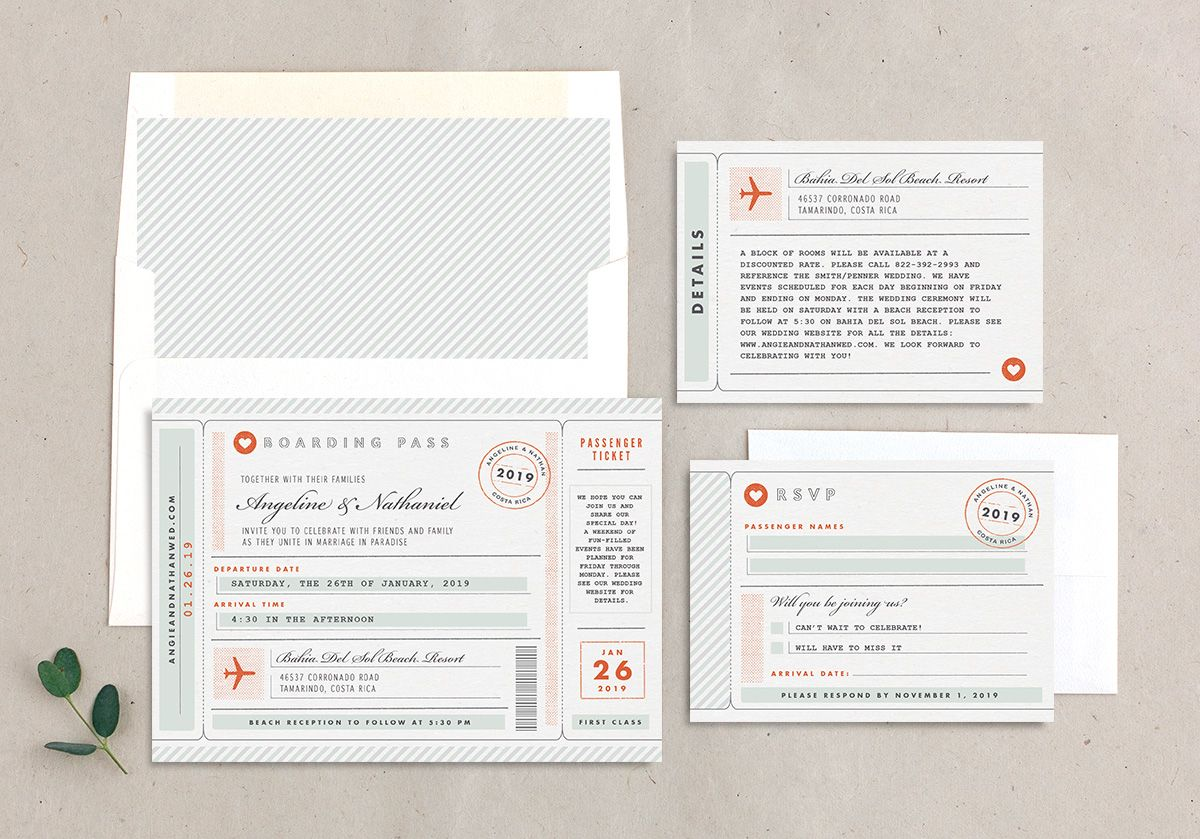 Vintage Boarding Pass wedding invitation suite green