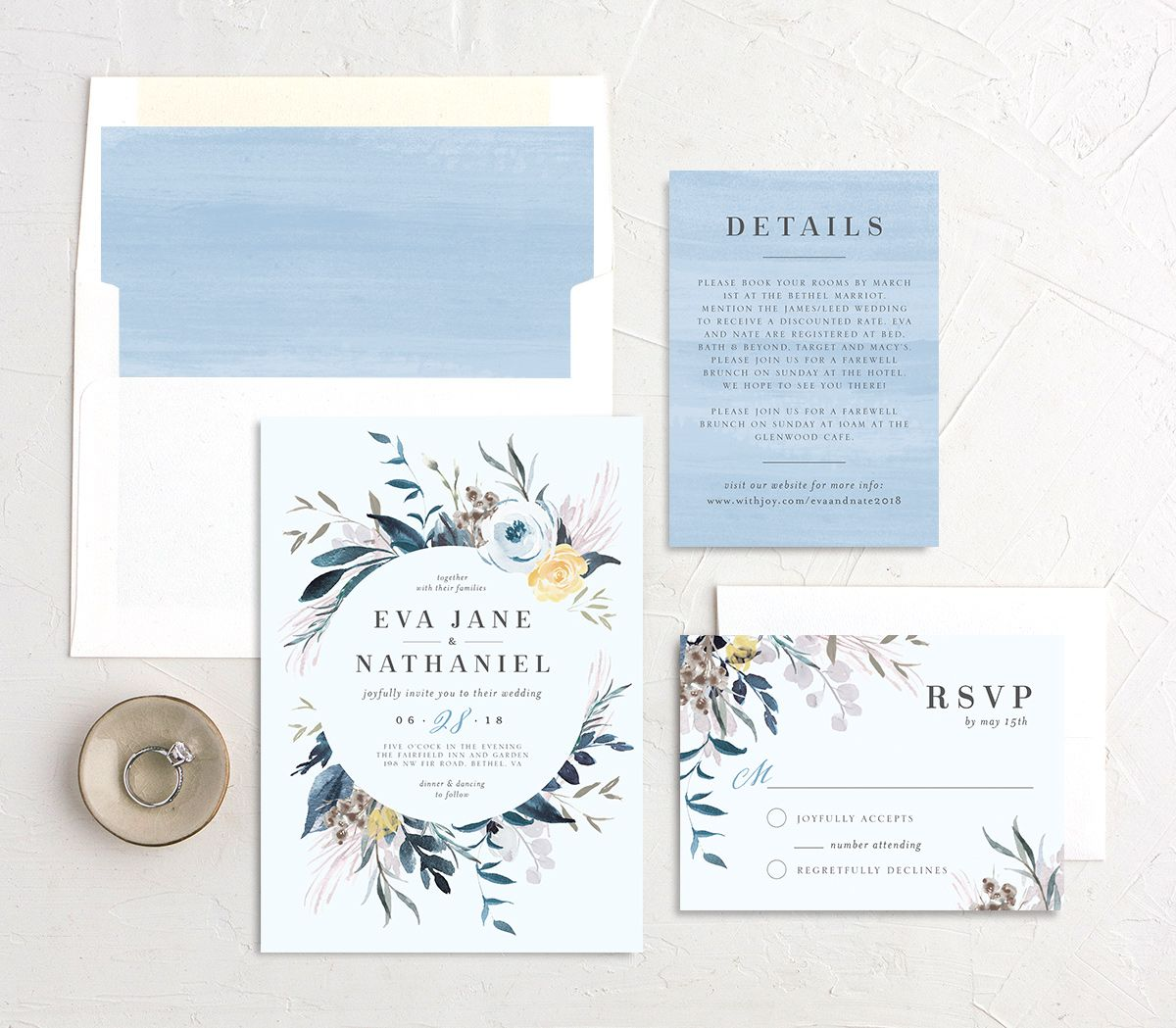 Wild wreath wedding invitation stationery suite in blue