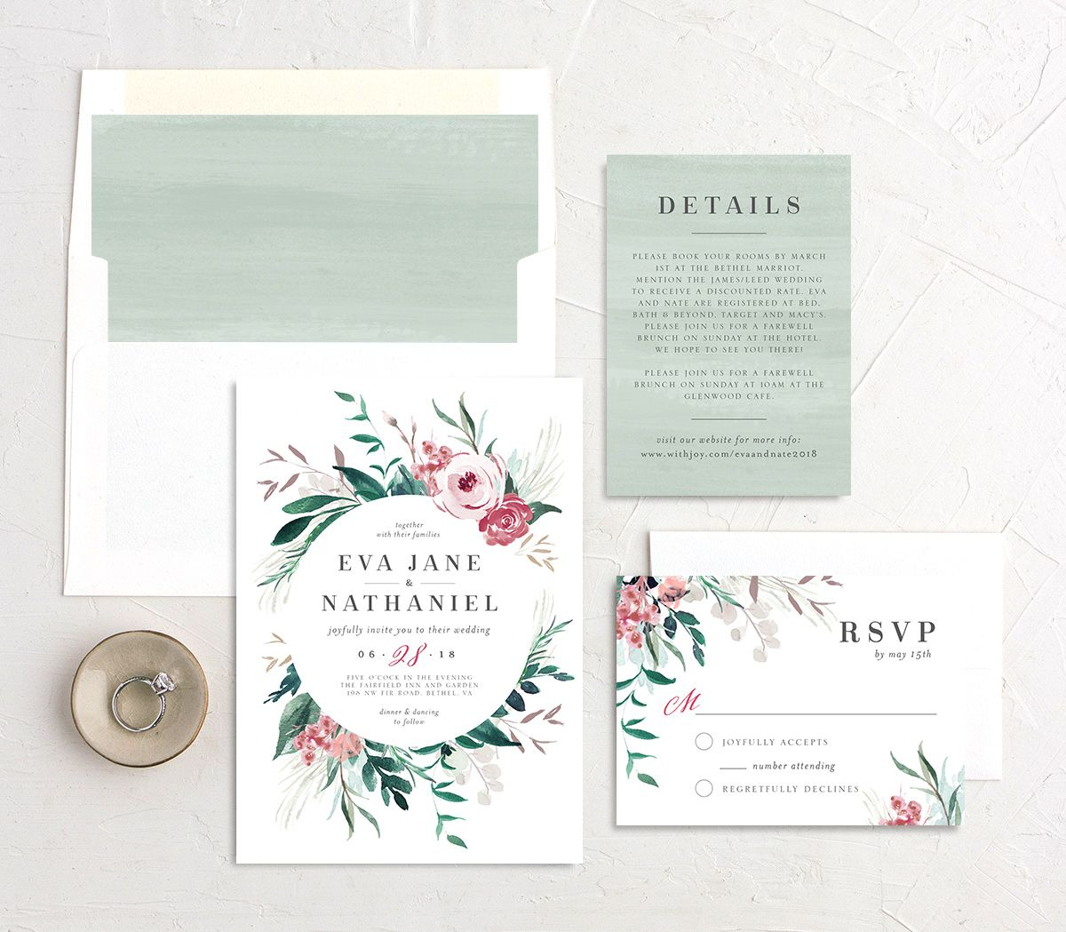 Wild wreath wedding invitation stationery suite in green