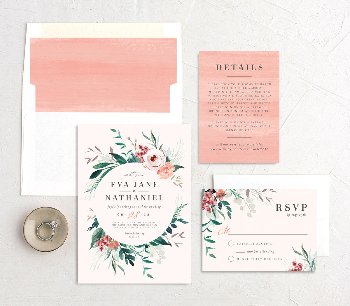 Wild wreath wedding invitation stationery suite in pink