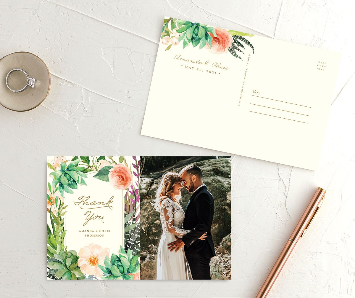 Elegant Oasis wedding thank you postcards