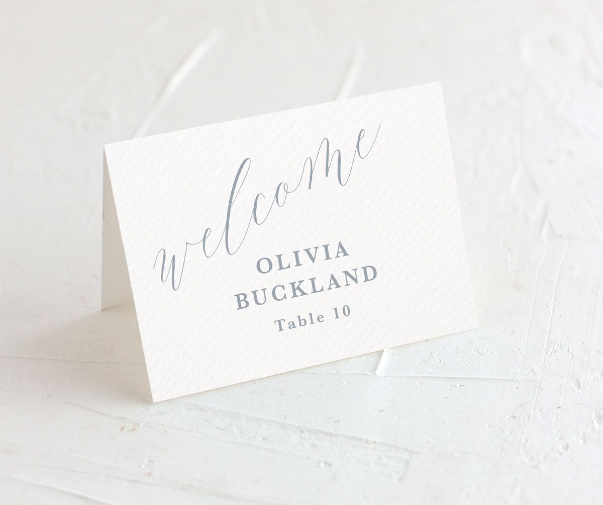 At Last Wedding Place Card in Blue