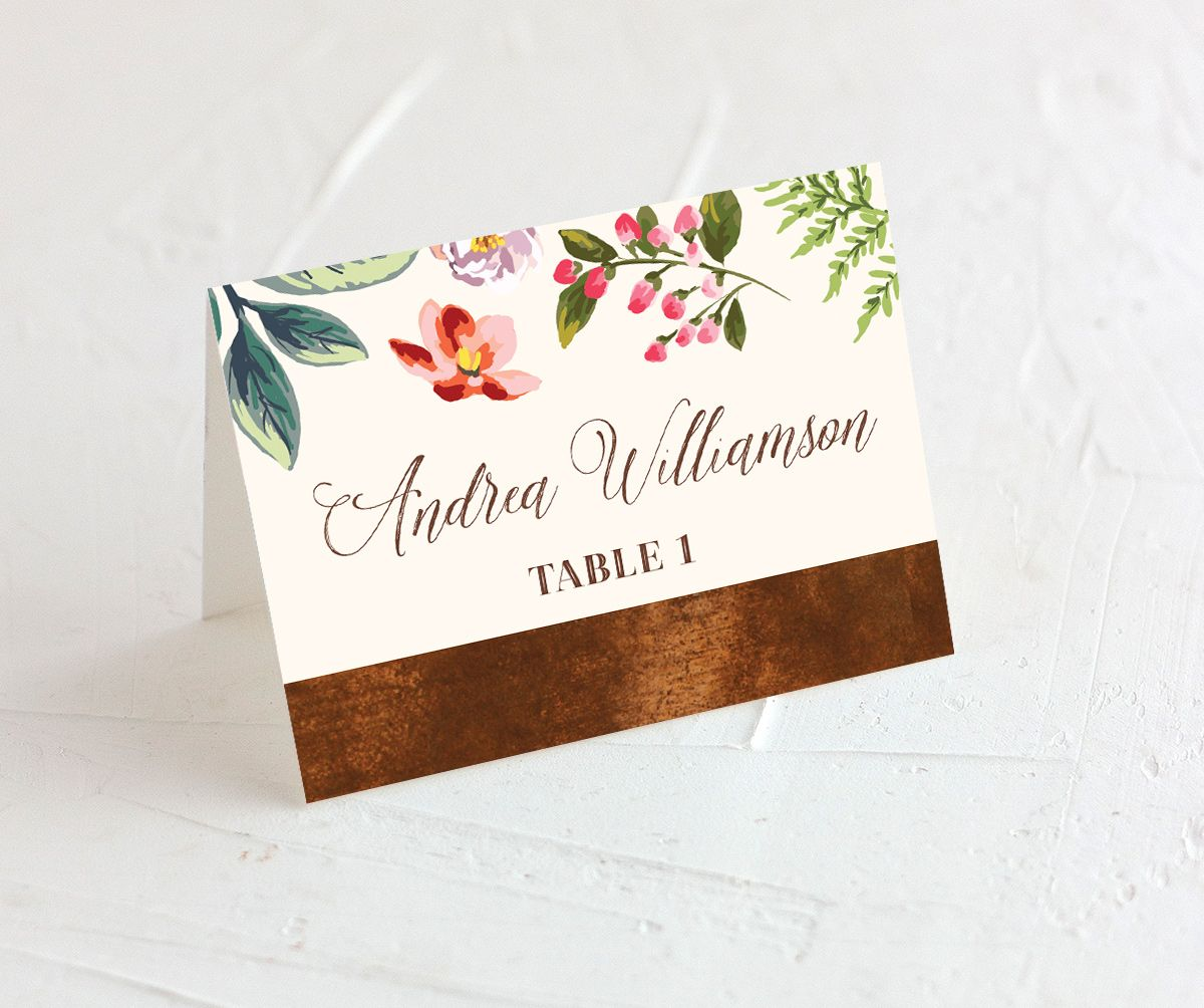 Bronze Floral Frame place cards closeup