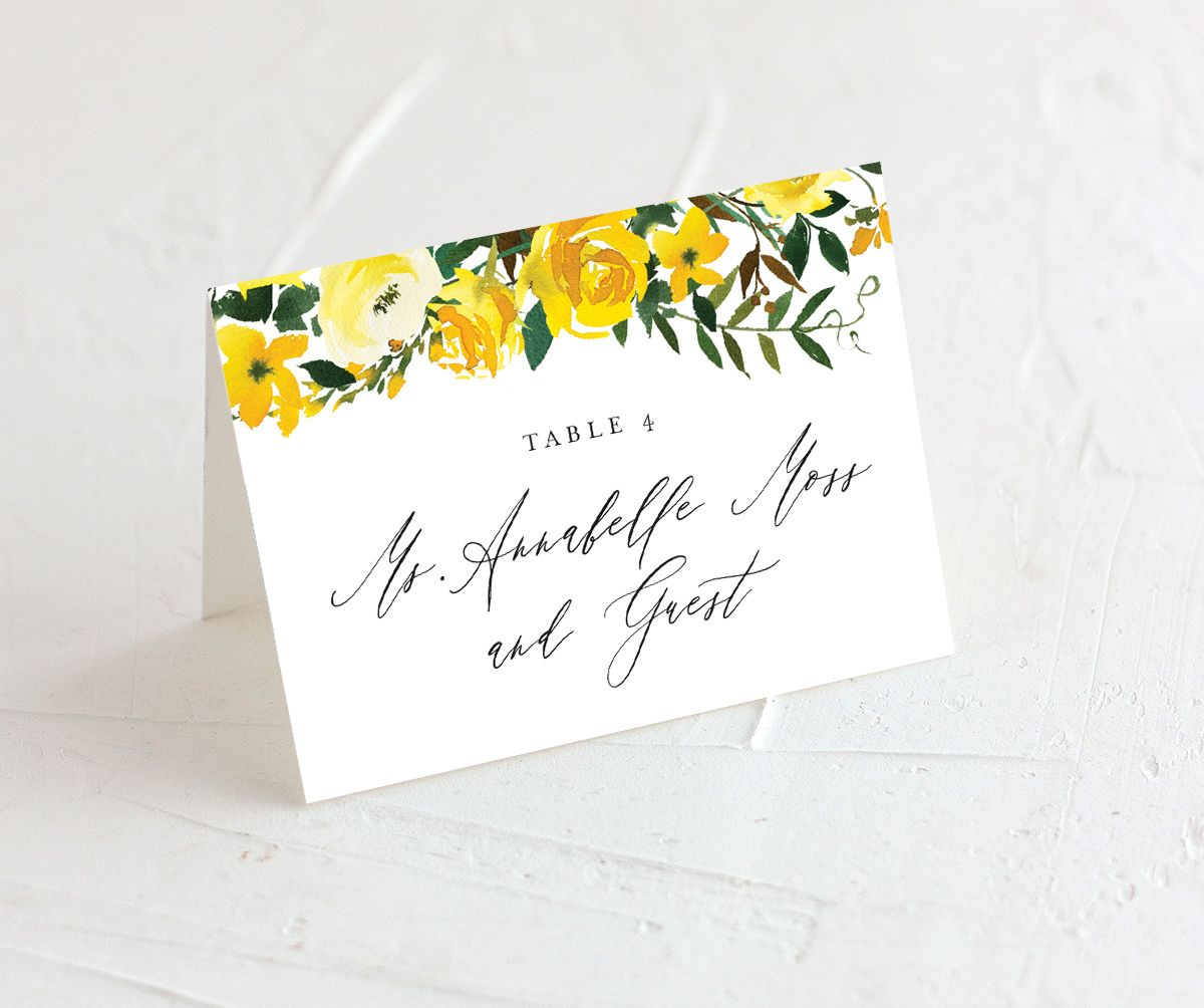 Cascading Altar place cards in yellow