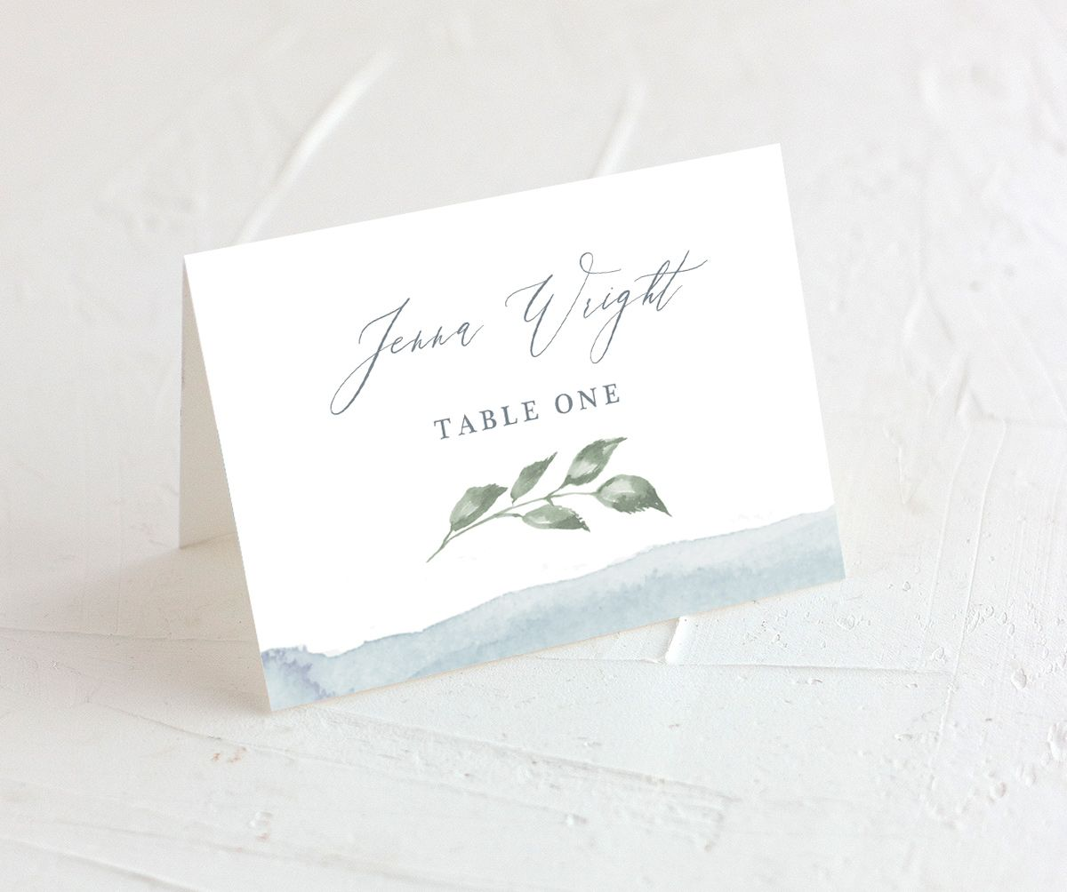 Dusted Calligraphy tented escort card in blue