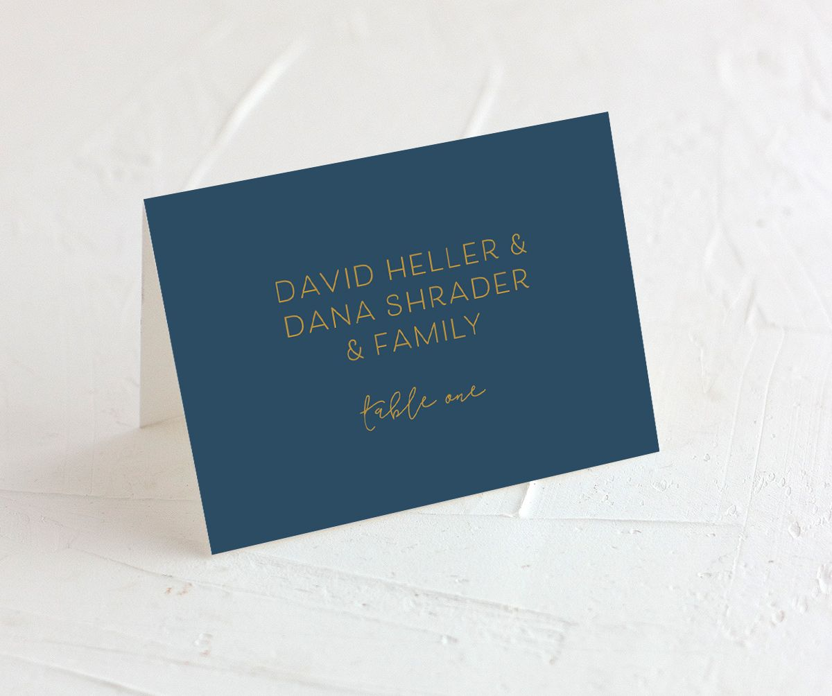 Gold Calligraphy Place Cards in blue