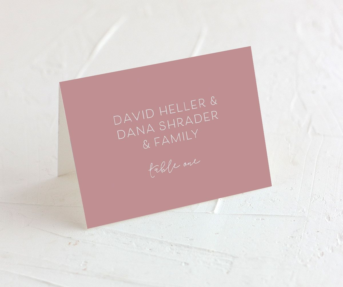Gold Calligraphy Place Cards in pink