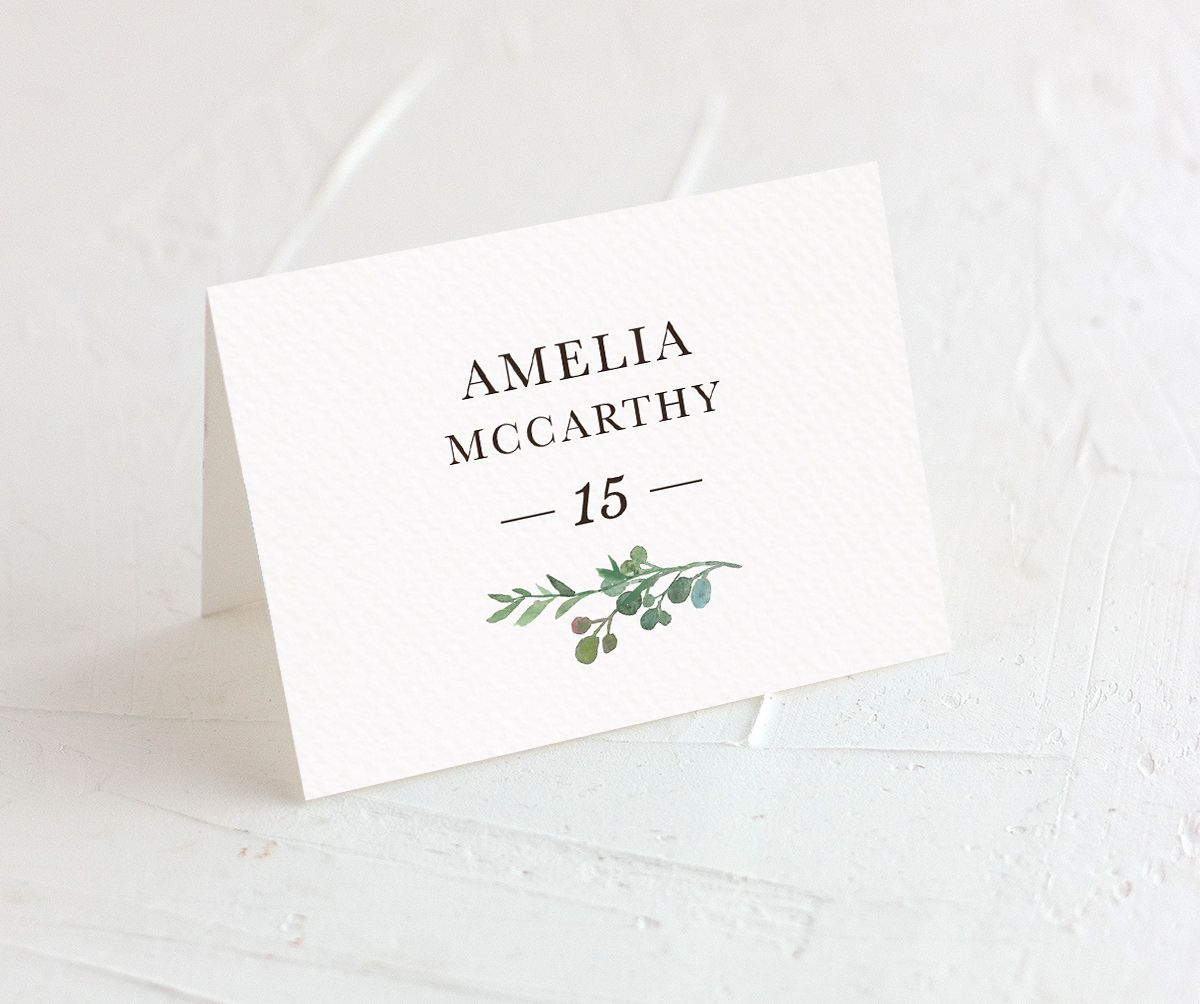 Leafy Hoops place cards closeup