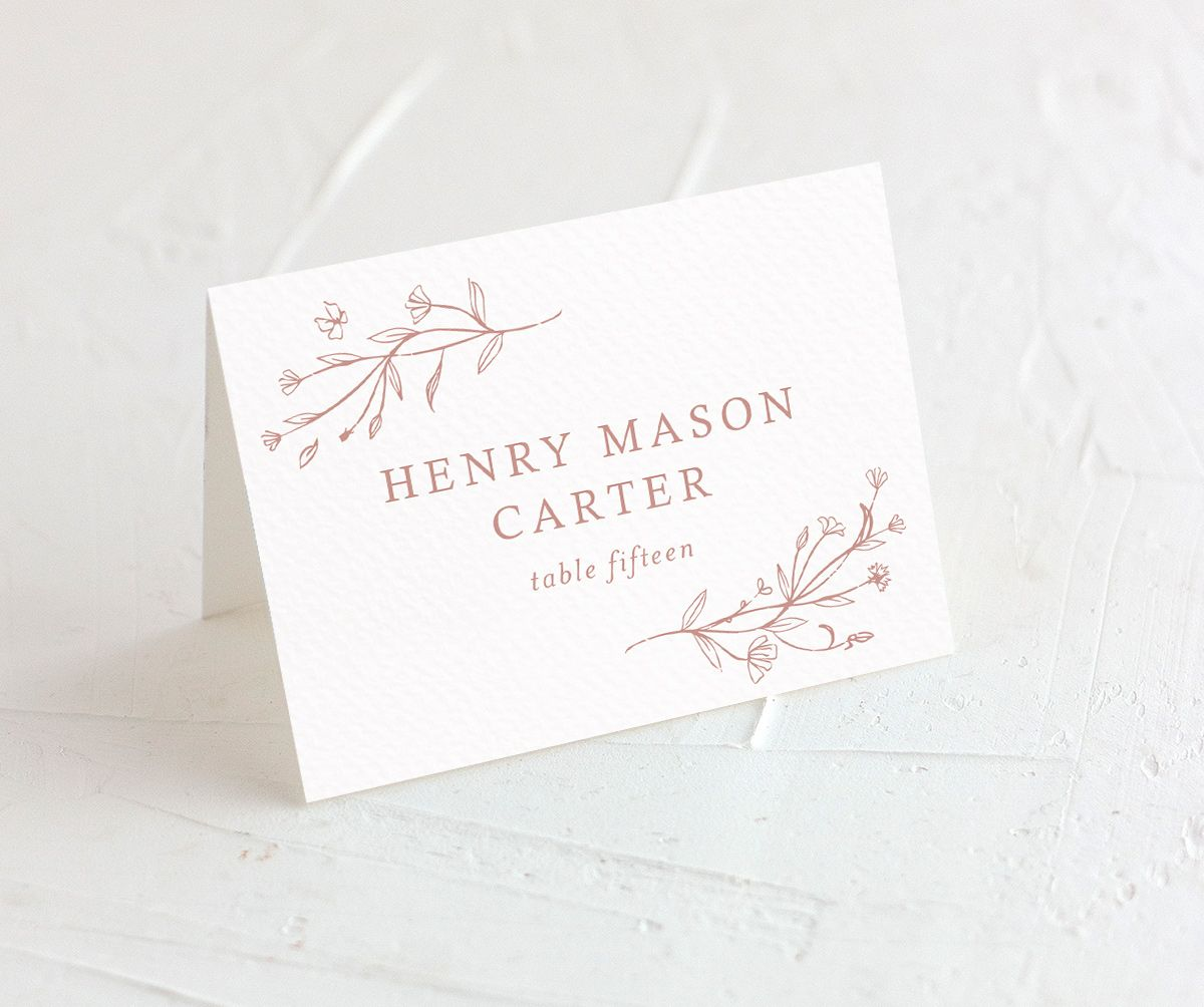 Natural Monogram wedding place cards closeup in pink