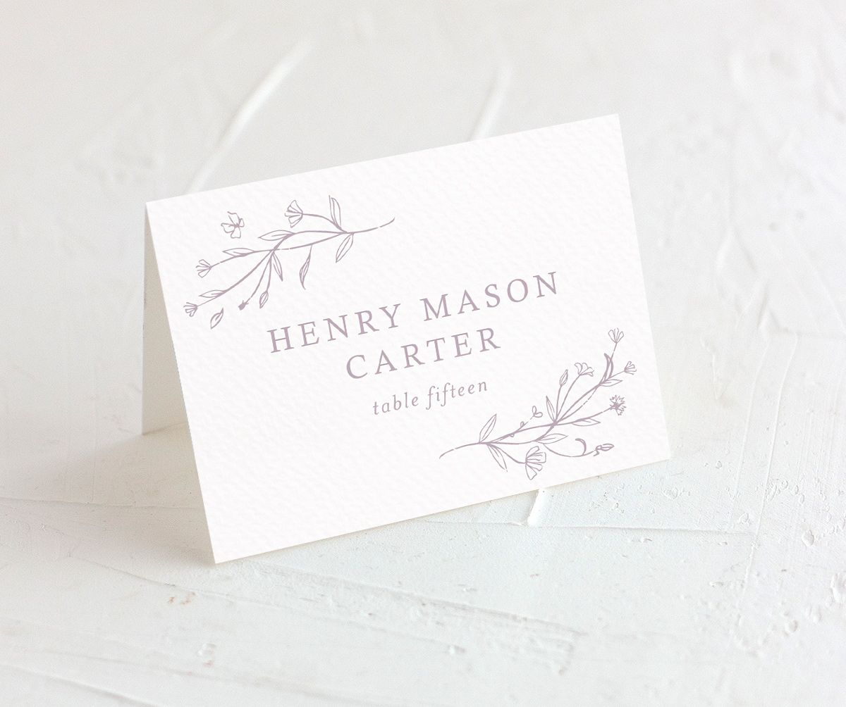 Natural Monogram wedding place cards closeup in purple
