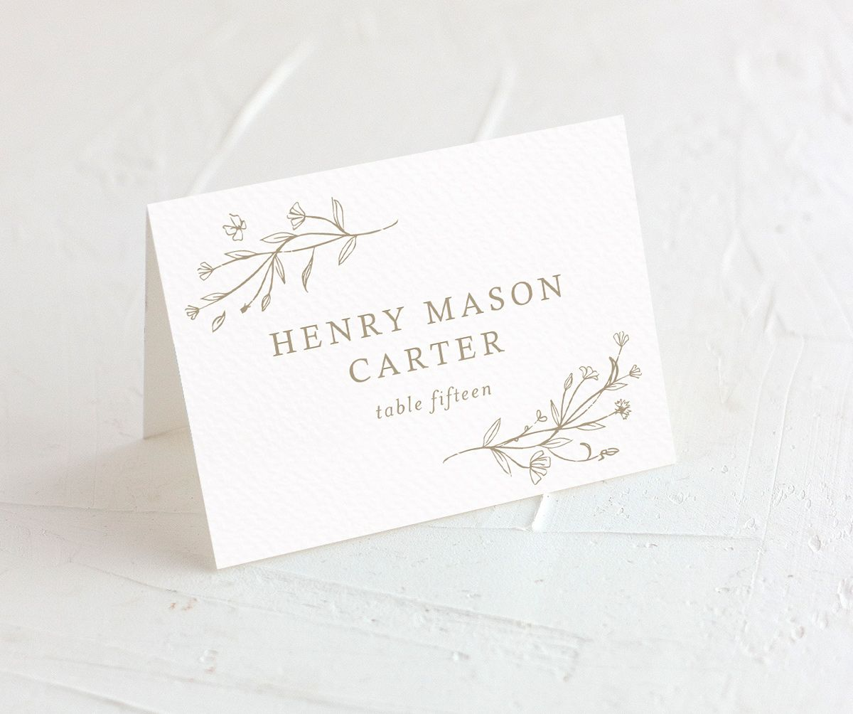 Natural Monogram wedding place cards closeup in tan