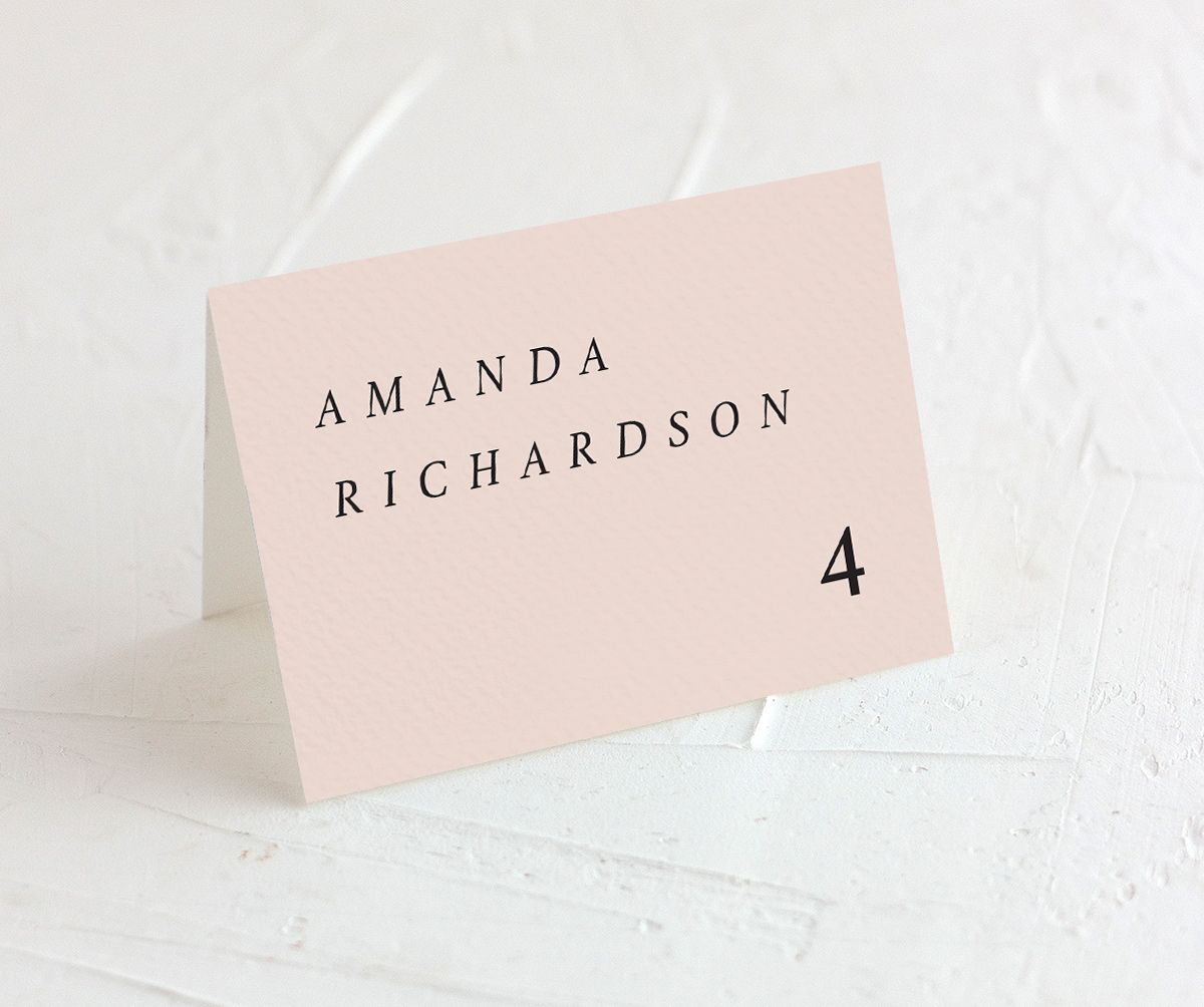 Natural Palette wedding escort cards in pink