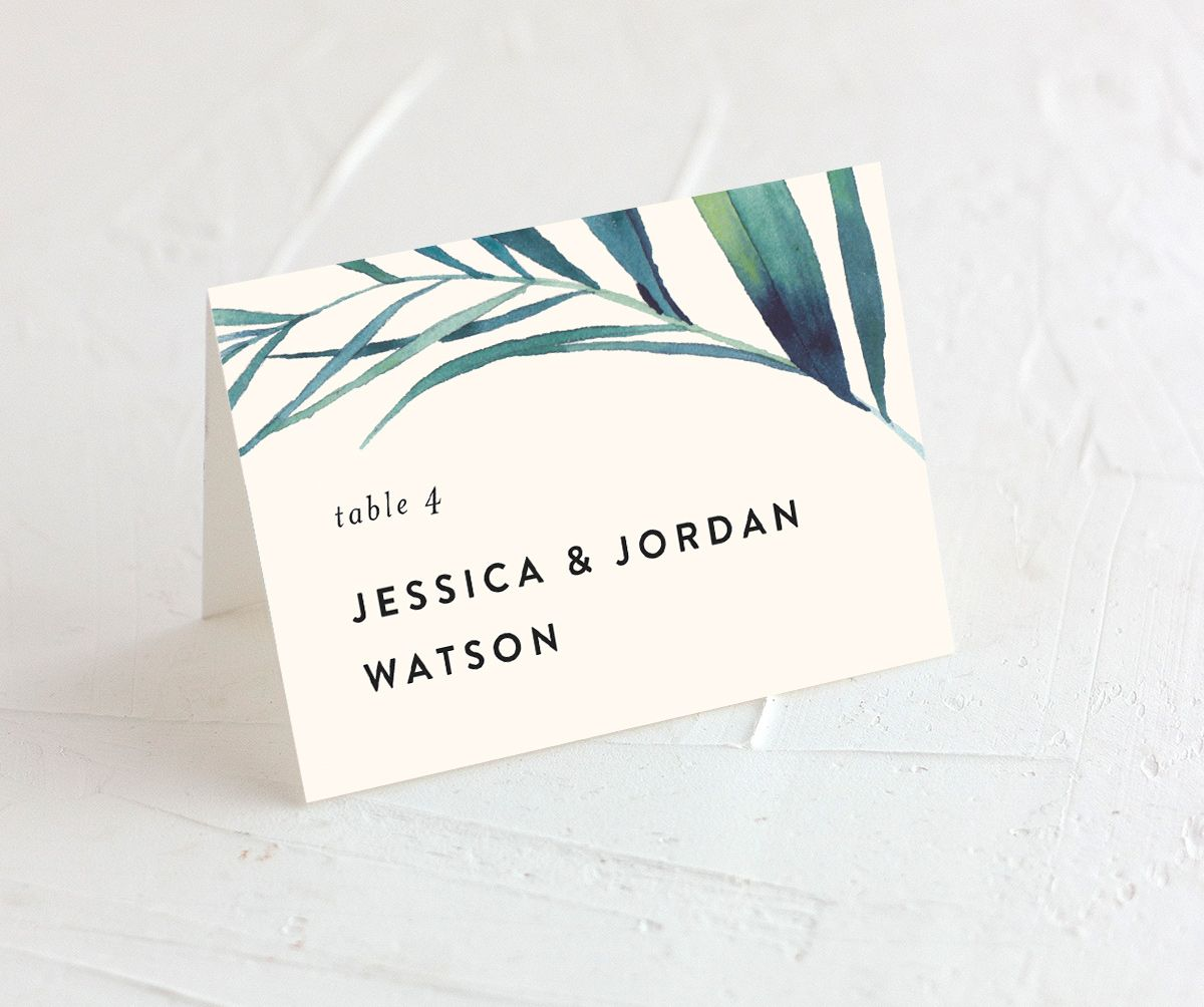 Palm and Protea place cards & escort cards