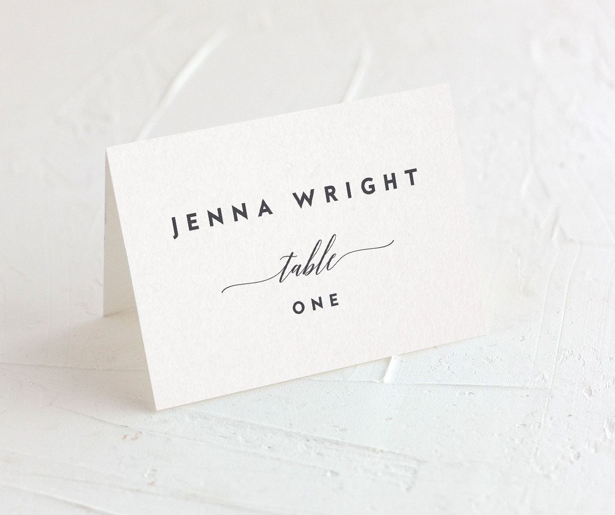 We Do Wedding Place Cards in grey