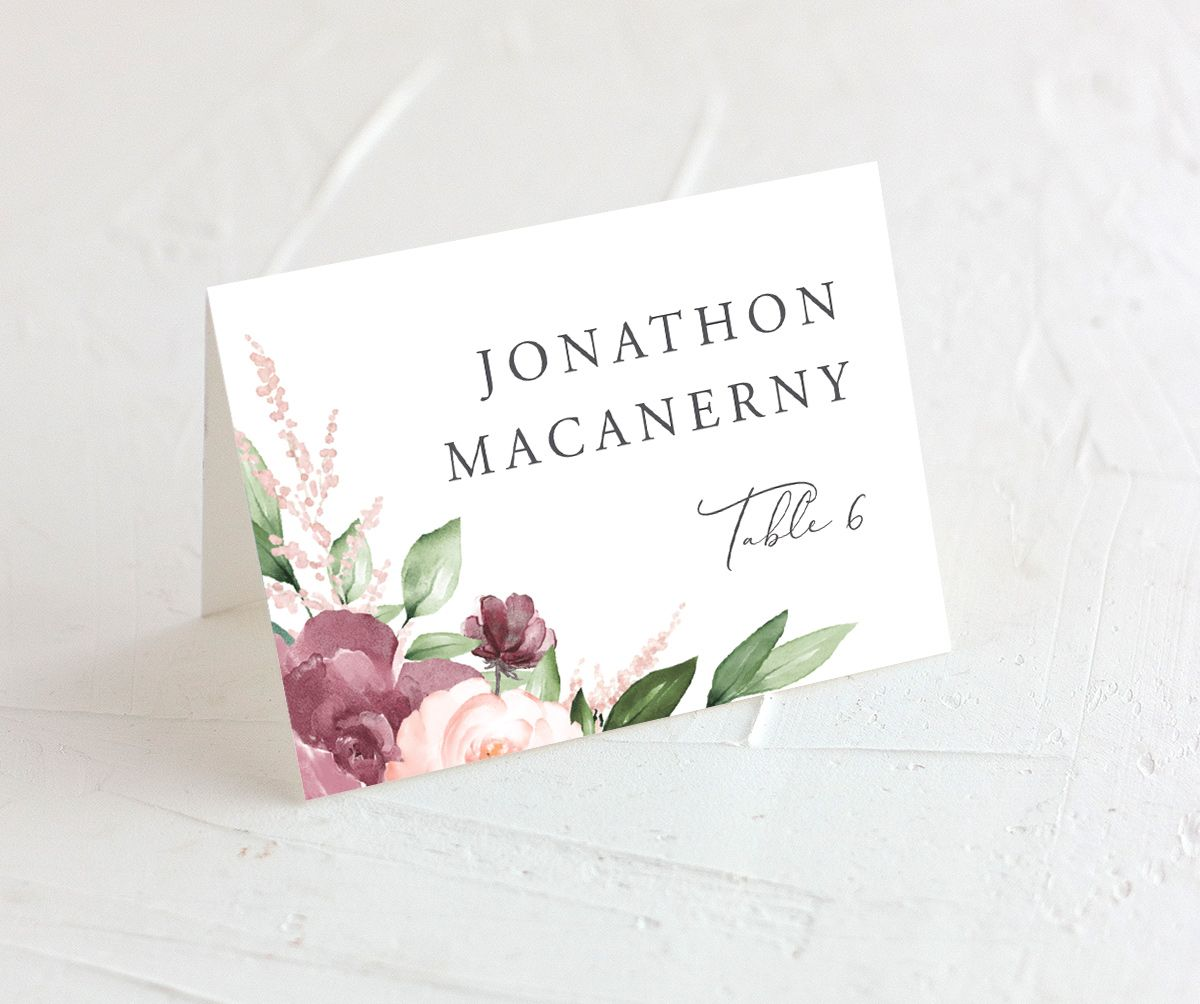 Beloved Floral wedding place cards in purple