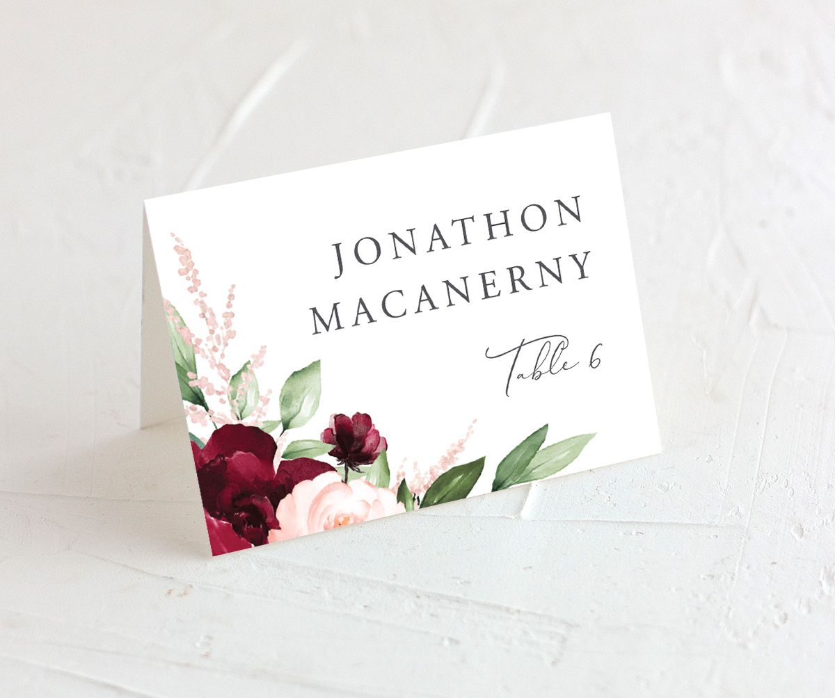 Beloved Floral wedding place cards in red