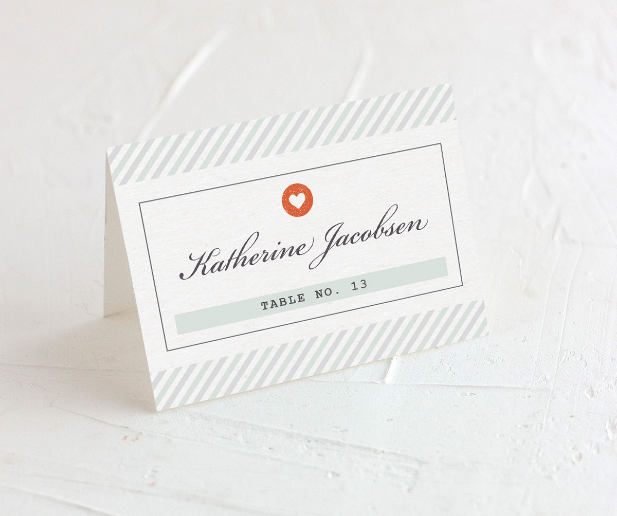 Vintage Boarding Pass place card green