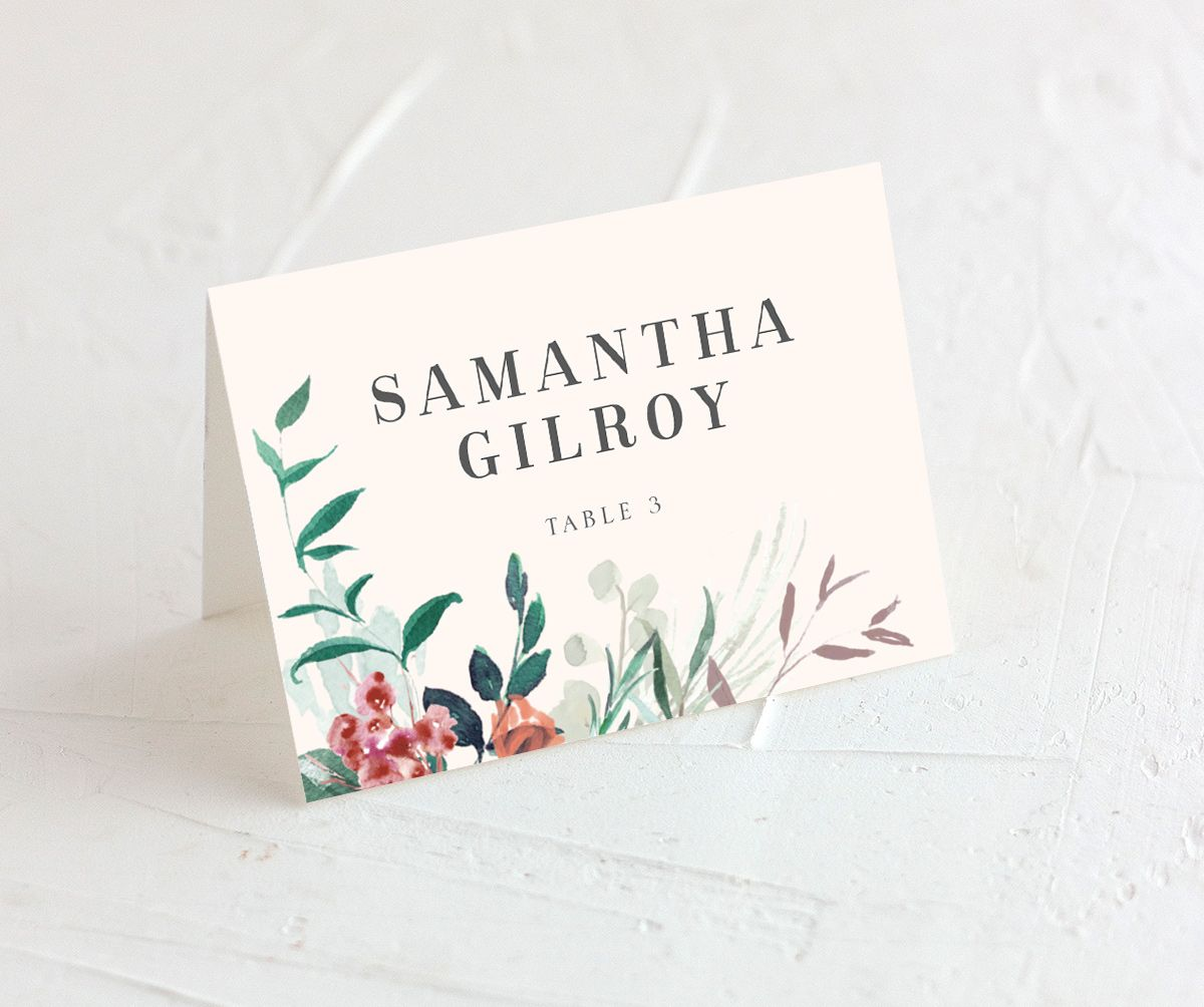 wild wreath wedding place cards in pink