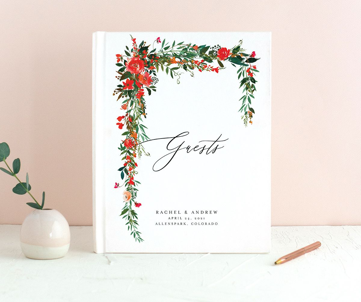Cascading Altar guest book in bright red