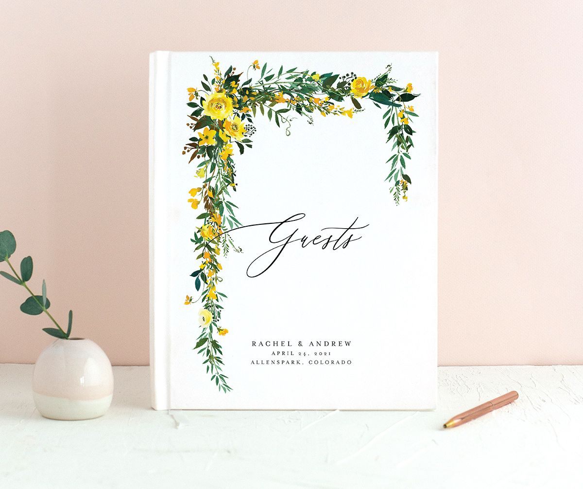 Cascading Altar guest book in yellow