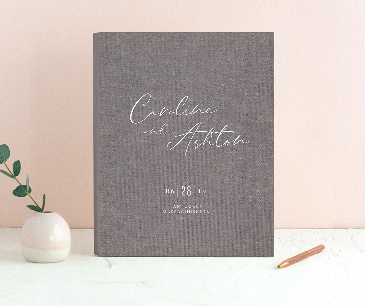 Coastal Love wedding guest book in grey