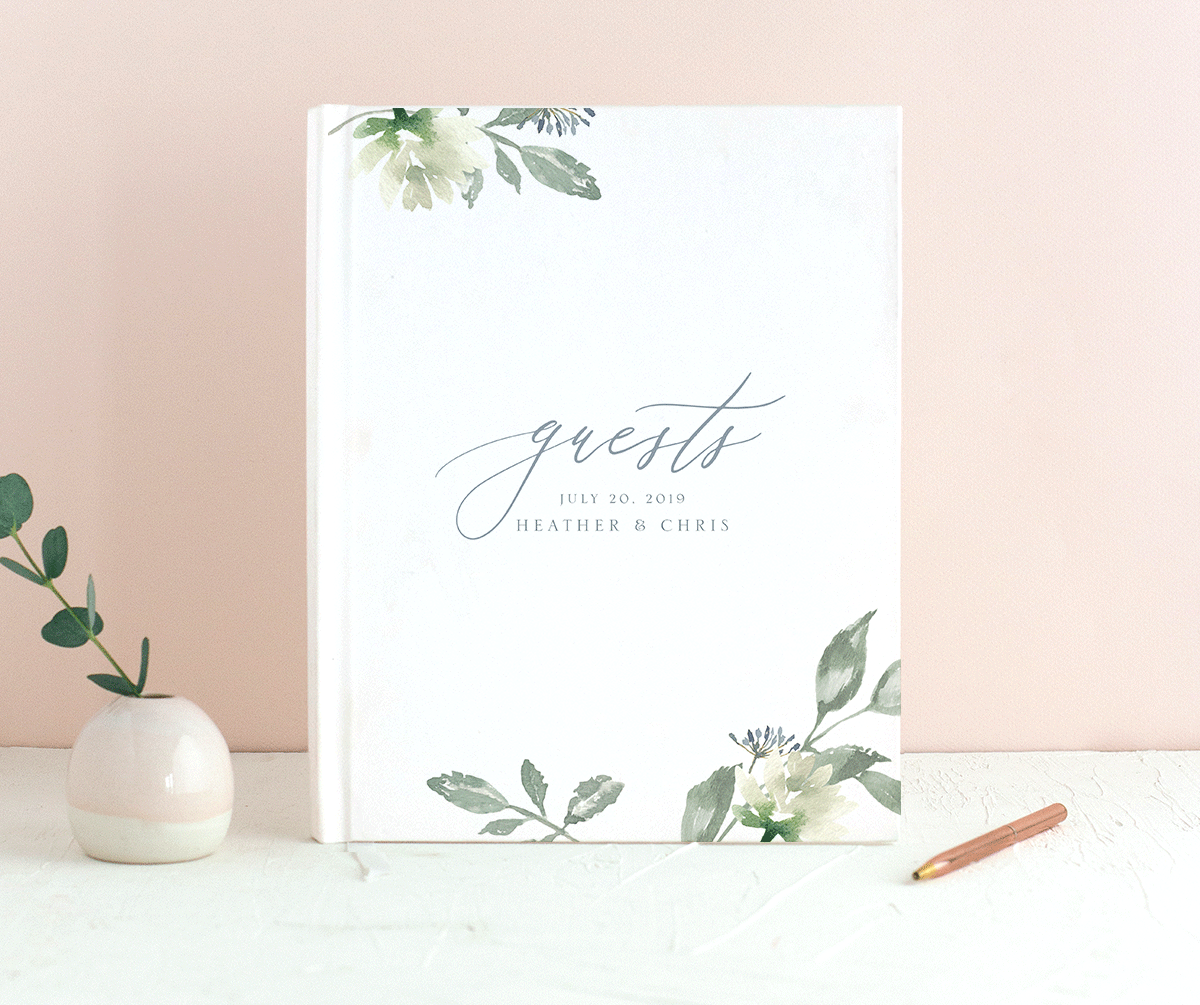 Dusted Calligraphy guestbook blue