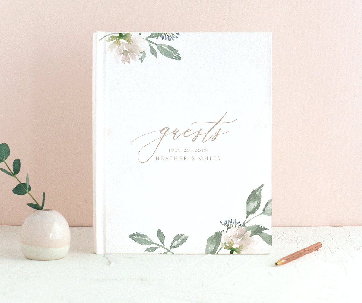 Dusted Calligraphy guestbook pink