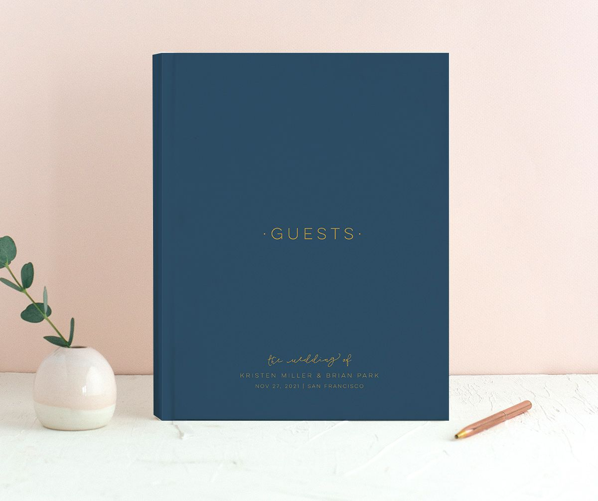 Gold Calligraphy guest book in blue