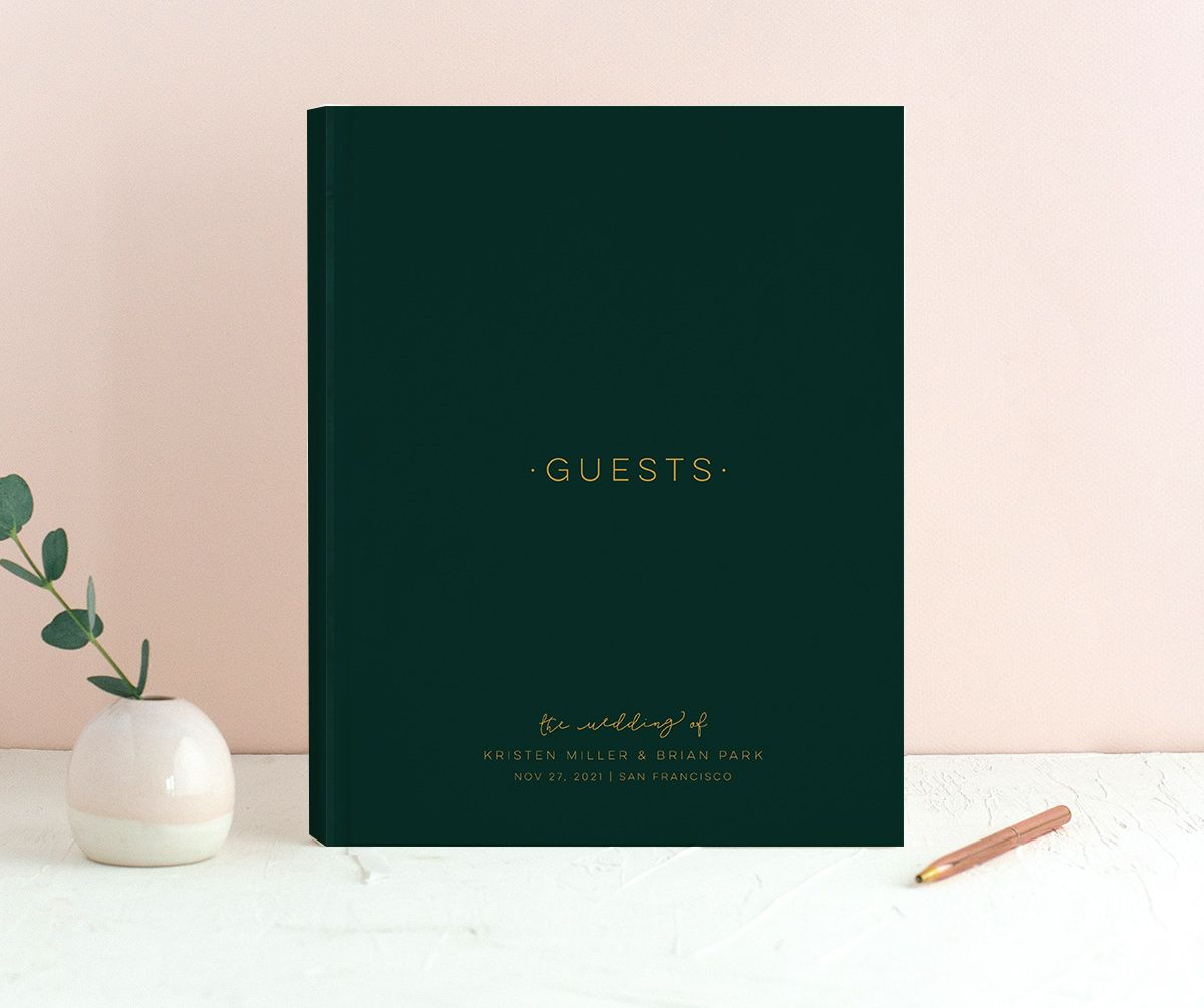 Gold Calligraphy guest book in green