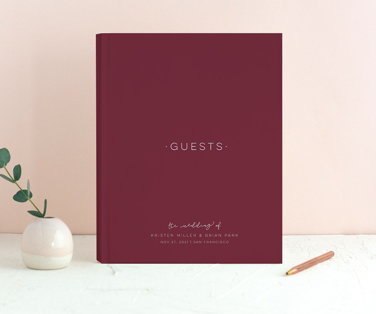 Gold Calligraphy guest book in red