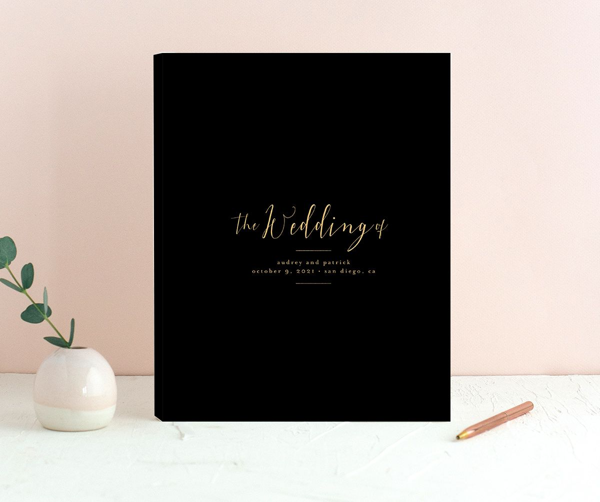 Marble and Gold wedding guest books in black